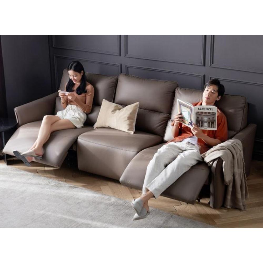 Диван-реклайнер на 3 места Xiaomi Yang Zi QiFeng Leather Electric Sofa Recliner Latte Coffee (реклайнер + обычное + реклайнер)