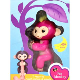 Интерактивная обезьянка на палец Fun Monkey c USB Розовая