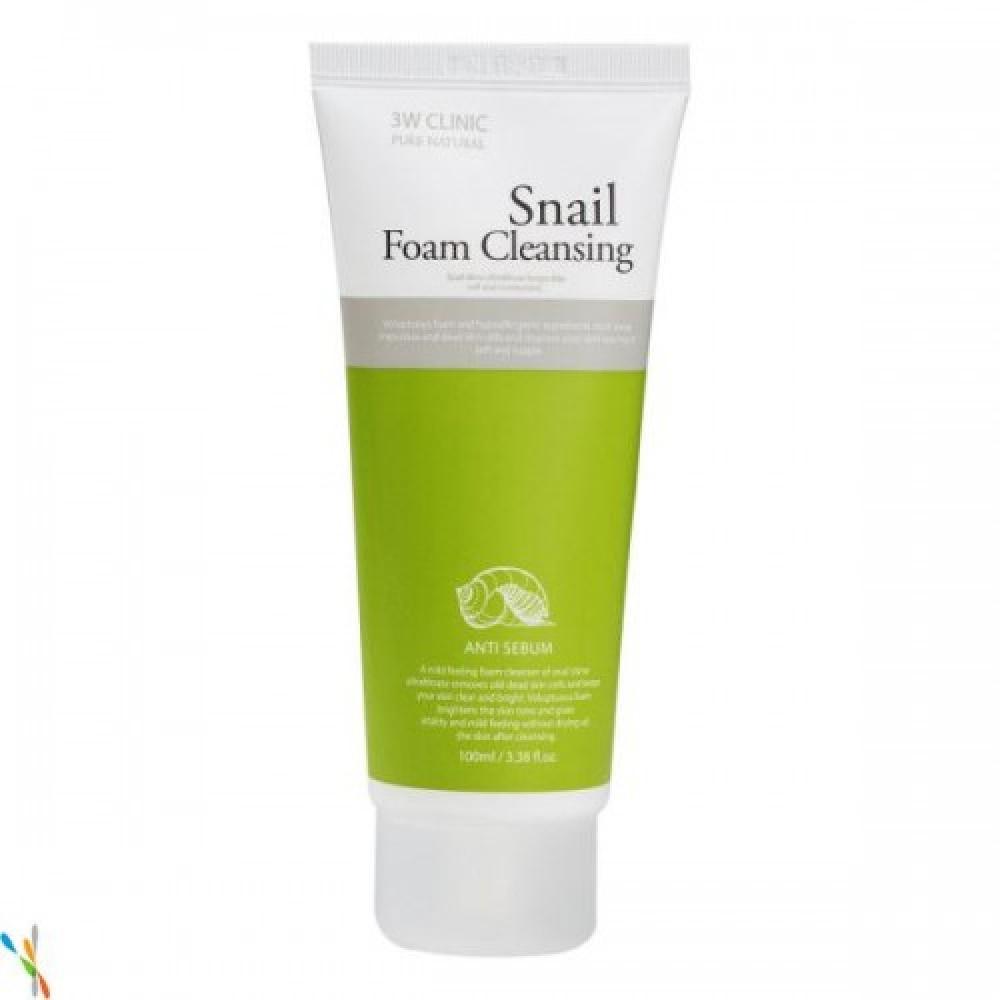 3W CLINIC Пенка для умывания УЛИТОЧНЫЙ МУЦИН Snail Foam Cleansing, 100 мл