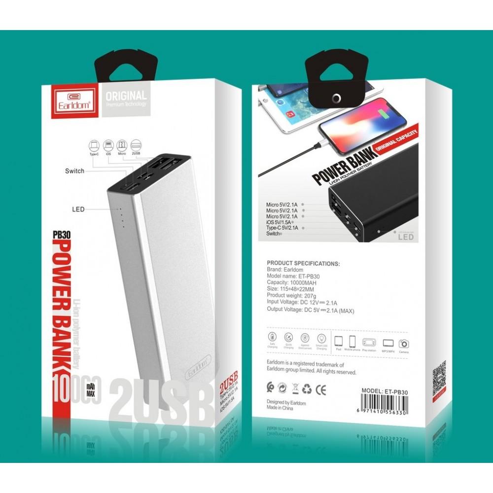 Внешний аккумулятор PowerBank Earldom ET-PB30 10000mAh