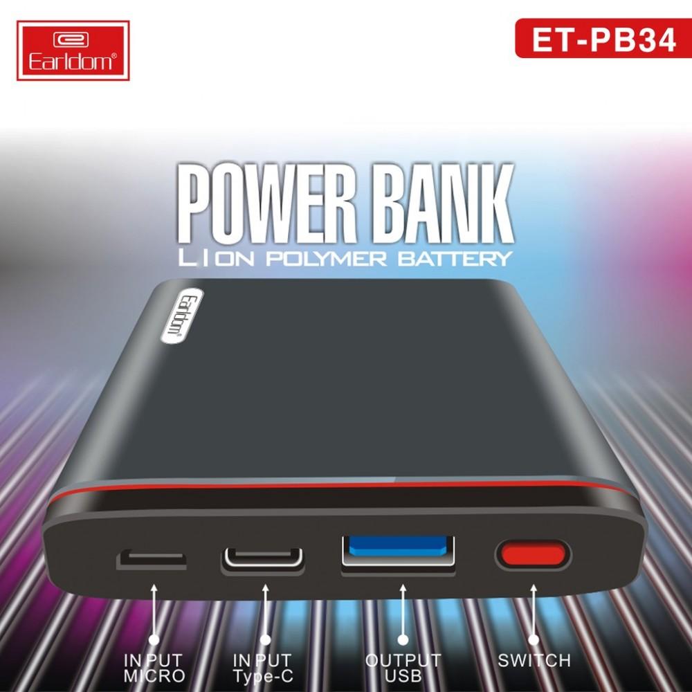 Внешний аккумулятор PowerBank Earldom  ET-PB34 10000mAh