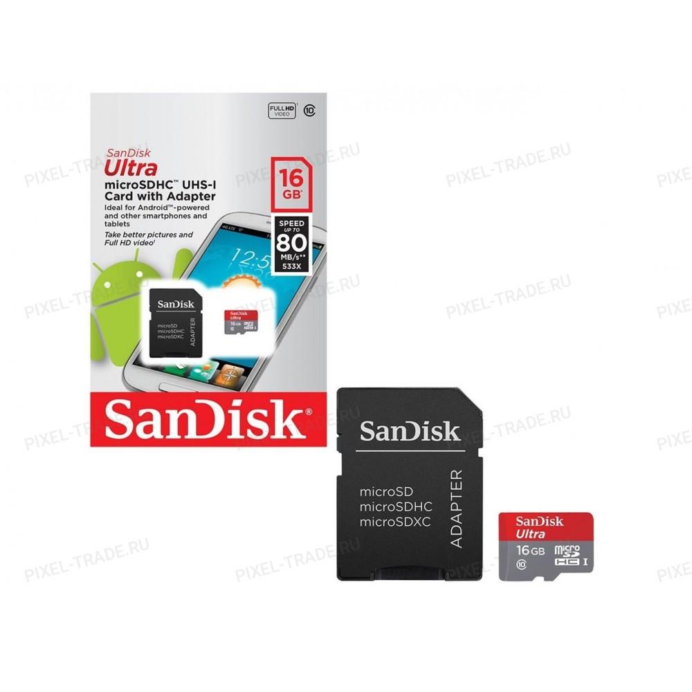 Карта памяти Sandisk MicroSD 16Gb Class 10 Ultra Android UHS-I (80 MB/S) с SD адаптером