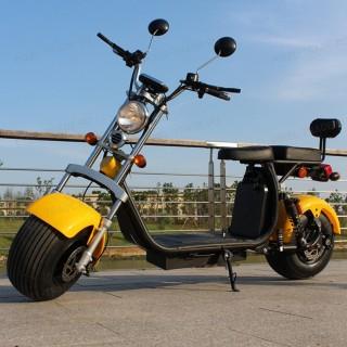 Электроскутер Citycoco Harley X10 2000W, 20А 60В Желтый (плюс доп. место для второй АКБ)