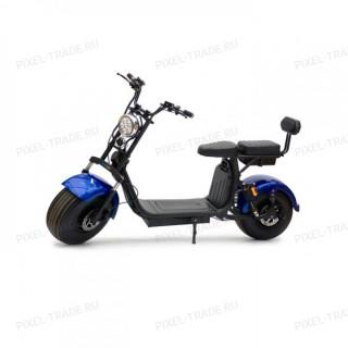 Электроскутер Citycoco Harley X10 2000W, 20А 60В Синий (плюс доп. место для второй АКБ)